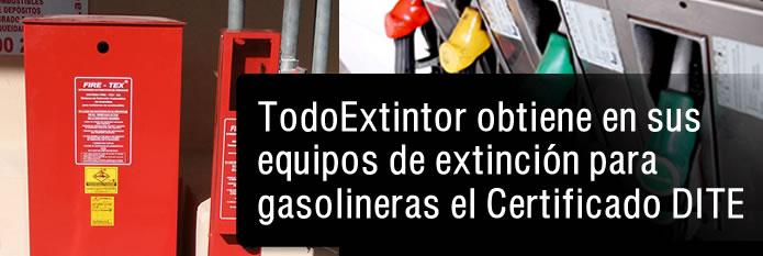 TodoExtintor obtiene en sus equipos de extinción para gasolineras el certificado DITE